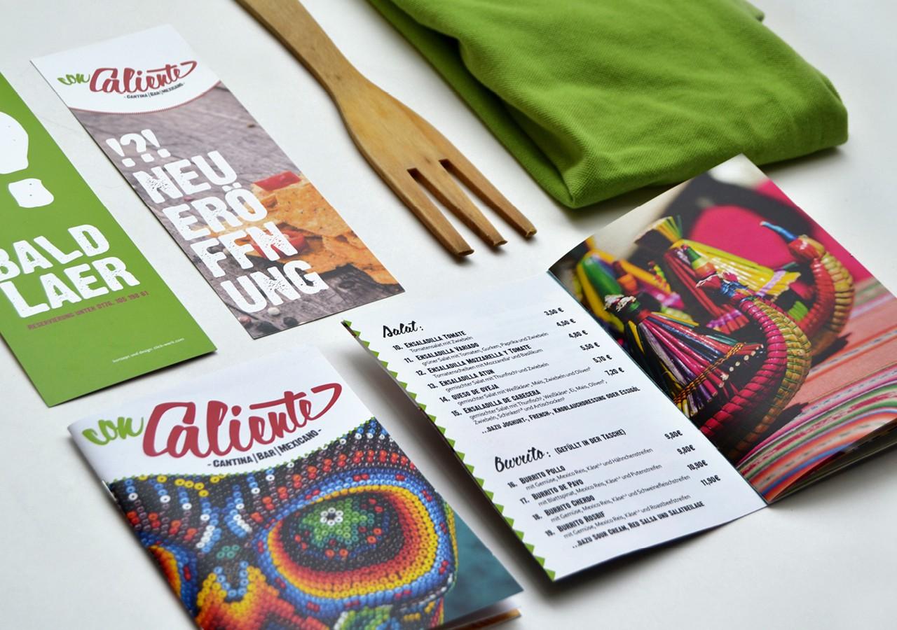 Werbeagentur Osnabrück click-werk Design Gestaltung Namensfindung und Logodesign Visitenkarte Interieurgestaltung Speisekarte Menüboard Arbeitsbekleidung Flyer Lieferkarte