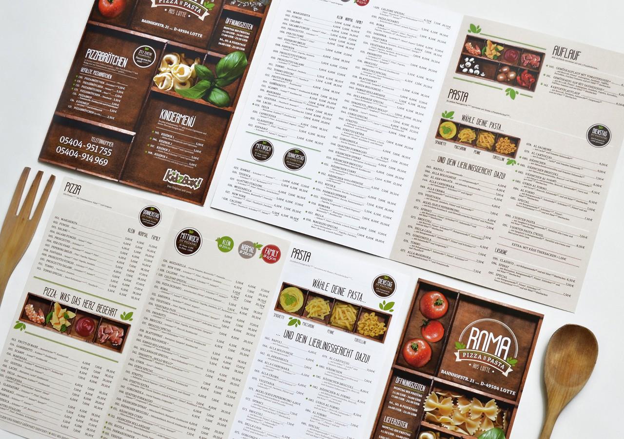 Werbeagentur Osnabrück click-werk Design Gestaltung Namensfindung und Logodesign Speisekarte Menüboard Arbeitsbekleidung Aussenwerbung Lieferkarte